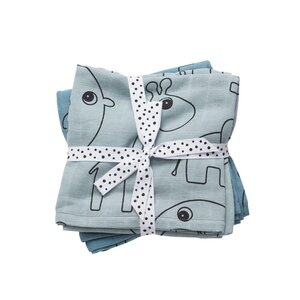 Done by Deer burp cloth, 2-pack, Balloon Blue - Done by Deer