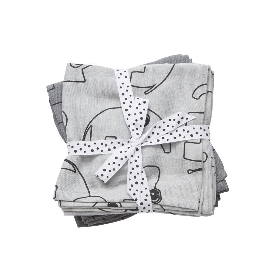 Done by Deer Swaddle, 2-pack, Contour, grey - Done by Deer