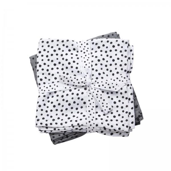 Done by Deer Burp cloth, 2-pack, Happy dots, grey Grey  - Done by Deer