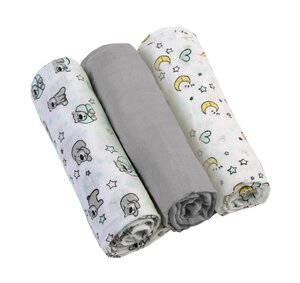 BabyOno Muslin diapers super soft 3 pcs Grey - BabyOno