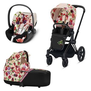 Cybex Priam stroller set Spring Blossom Light Beige,matt black frame+Cloud Z Spring Blossom Light Beige - Cybex