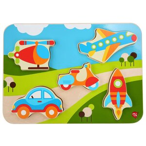 Lucy & Leo medinis žaislas Vehicles Wooden Peg Puzzle - Lucy & Leo