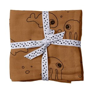 Done by Deer autiņš Burp cloth, 2-pack, Sea friends - Done by Deer