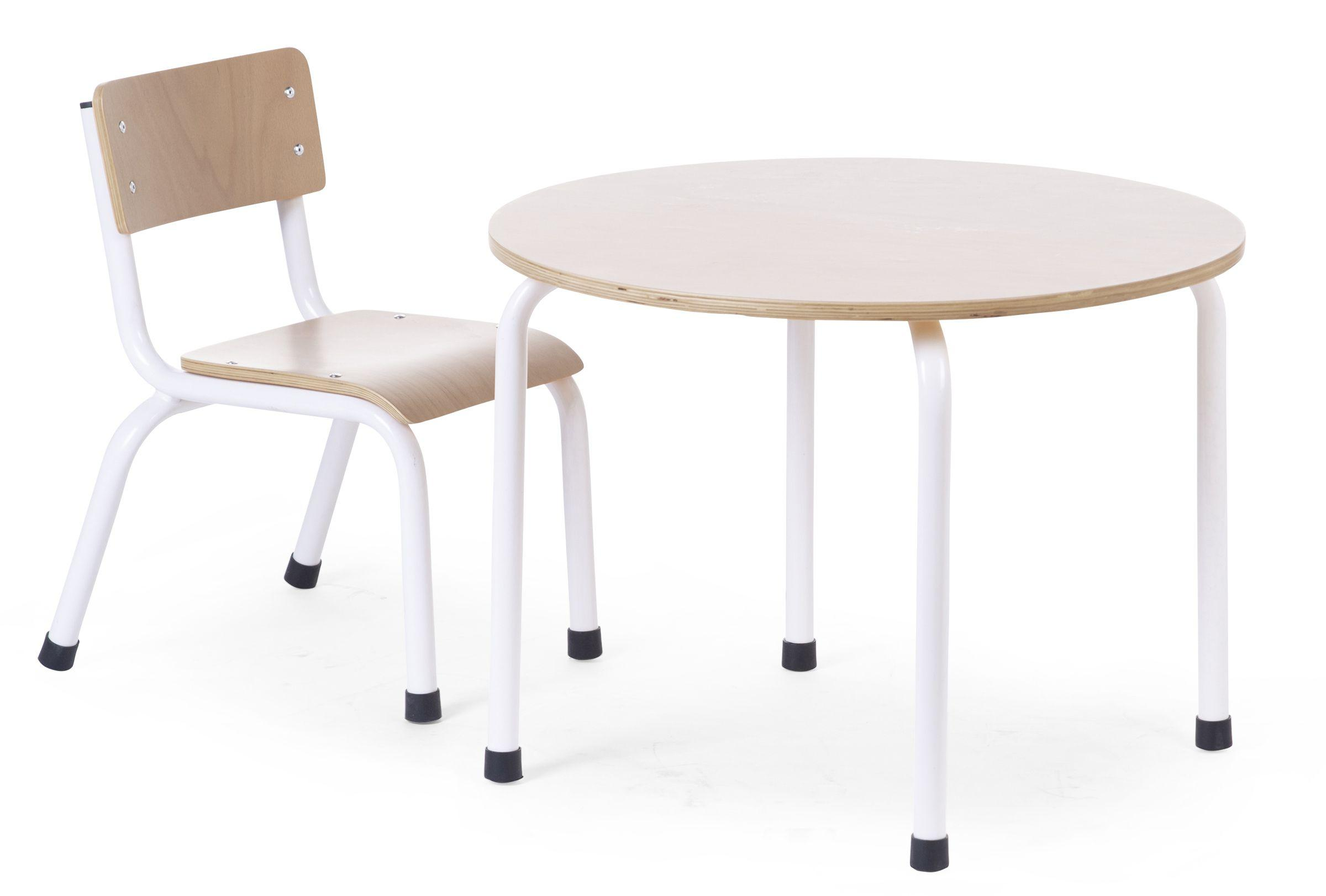Childhome Small Metal Wood Round Table Natural White Nordbaby
