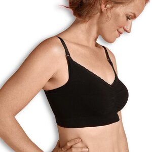Carriwell Seamless Organic Nursing Bra, S black - Carriwell